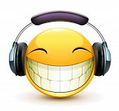 picture of emoticon  - Vector illustration of cool glossy single musical emoticon with detailed headphones - JPG