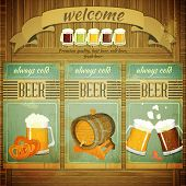 foto of malt  - Pub Beer Menu in Retro Vintage Grunge Style Set of Labels on Wooden Background - JPG