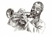 stock photo of trumpet  - A hand drawn illustration of an musician playing the trumpet - JPG