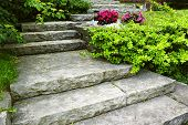 stock photo of stairway  - Natural stone stairs landscaping in home garden - JPG