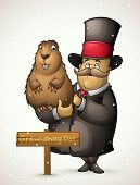 picture of groundhog  - Illustration of a fat marmot sits on the 