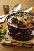 stock photo of boeuf  - Traditional french beef  vegetable goulash  Boeuf bourguignon - JPG