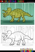 Cartoon Triceratops Dinosaur For Coloring Book