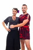 picture of cross-dressing  - Portrait of two happy transvestites cross - JPG