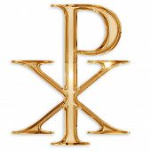 image of baptism  - chi rho christian symbol isolated on white background - JPG