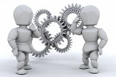 stock photo of mechanical engineer  - Working together to solve the problem  - JPG