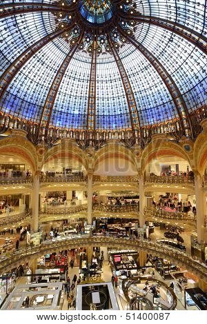 PARIS, FRANCE - SEPTEMBER 13: Interior of Les Galeries Lafayette store in Paris, France on September 13, 2013. Opened in October 1912, the store receives about 100,000 visitors a day