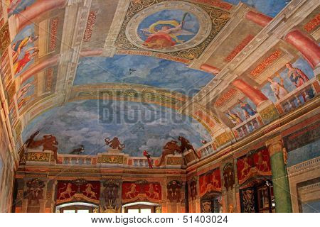 SALZBURG, AUSTRIA - AUGUST 2012 : Ceiling at the Banqueting hall, painted by by Arsenio Mascagn, at Schloss Hellbrunn Palace on August 14, 2012 in Salzburg, Austria.