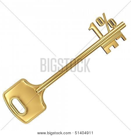 3d golden shiny key with interest rate 1% percent on it