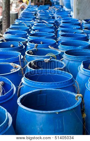 Water In Blue Plastic 200 Litre Open Top Barrel