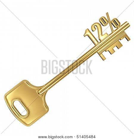 3d golden shiny key with interest rate 12% percent on it