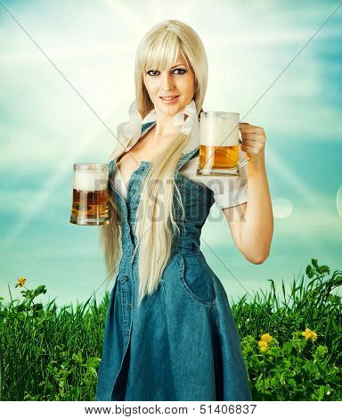 Sexy Oktoberfest Woman And Beer