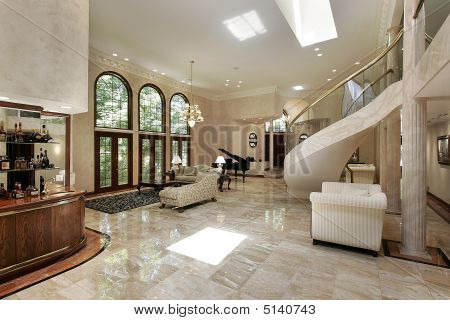 Great Room With Marble Floors