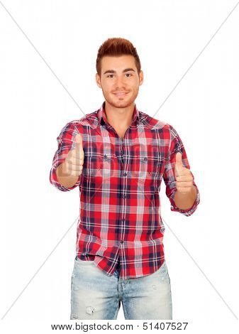 Attractive guy with spiky hair saying Ok isolated on white background