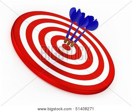 Blue Darts On Red Target