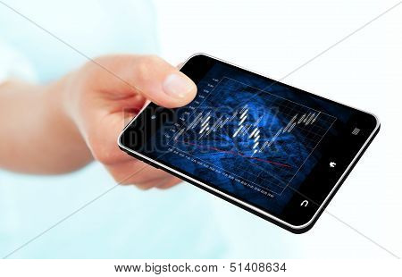 Hand Holding Mobile Phone With Stock Market Chart