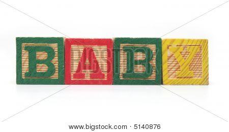"Isolated Wood Blocks ""baby"""