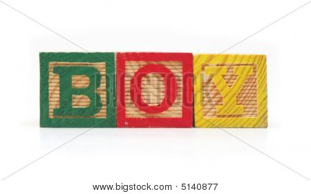 "Isolated Wood Blocks ""boy"""