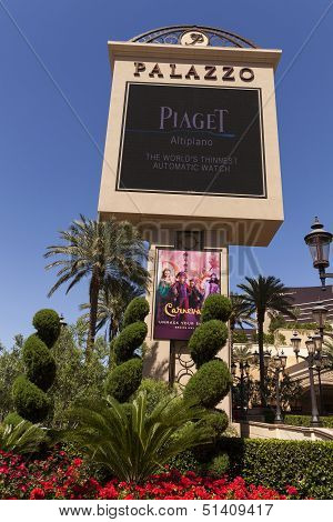 The Palazzo Sign In Las Vegas, Nv On April 27, 2013
