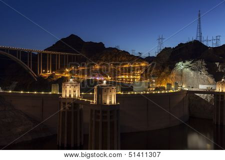Hoover Dam At Night In Boulder City, Nv On June 14, 2013