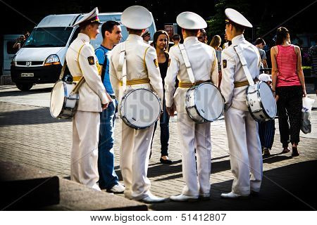Kyiv, Ukraine - May 19: Group Of Cadets With Drums  Speak With Woman In The 'kiev City Day' On May 1