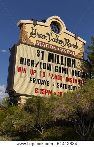 Green Valley Ranch Casino Sign In Las Vegas, Nv On August 20, 2013