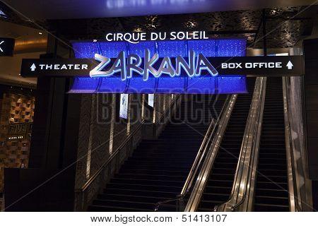 Zarkana Box Office Sign At Aria In Las Vegas, Nv On August 06, 2013