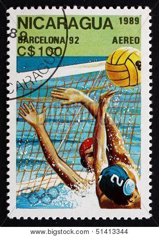 Postage Stamp Nicaragua 1989 Water Polo, 1992 Olympics, Barcelon