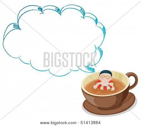 Illustration of a young boy swimming on a cup of choco with an empty callout on a white background