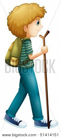 Illustration of a boy hiking with a wood on a white background