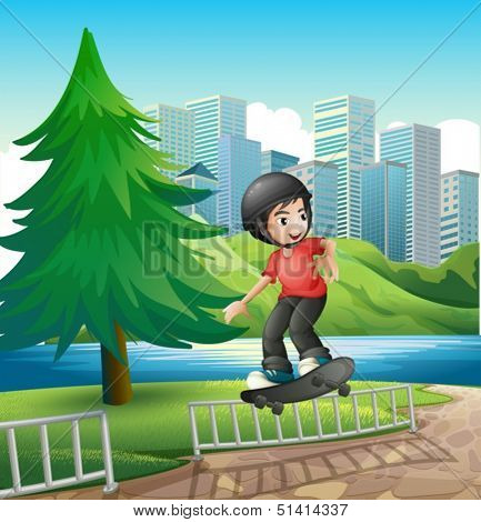 Illustration of a boy skateboarding near the riverbank