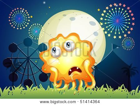 Illustration of a sad orange monster near the carnival