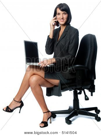 Businesswoman with Laptop und Handy
