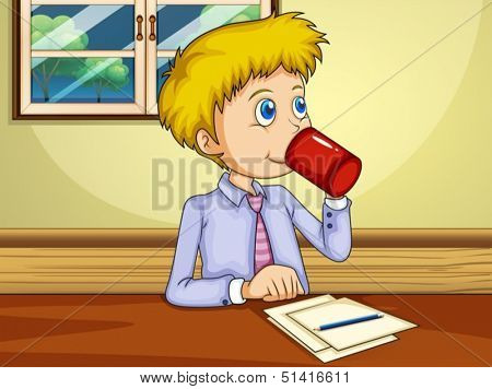 Illustration of a man drinking while making a report