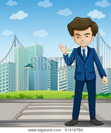 Illustration of a man at the pedestrian lane across the tall buildings