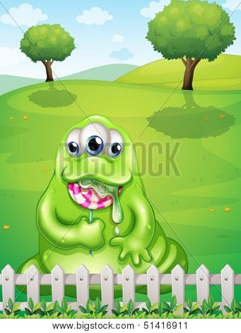 Illustration of a monster at the hilltop eating a lollipop