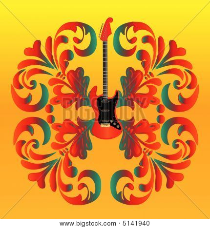 Floral Guitar Background