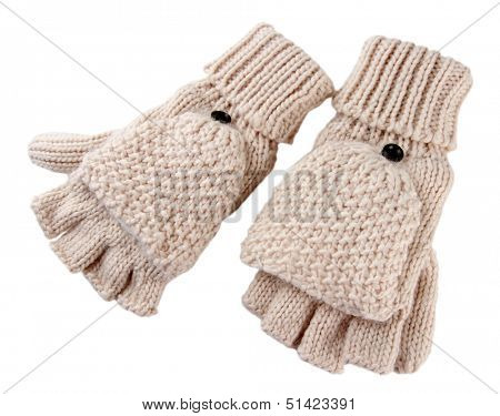 Wool fingerless gloves, isolated on white