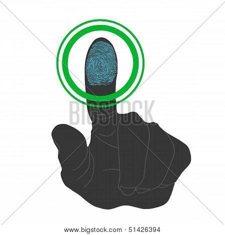 Touch, Id, Fingerprint Scan Access Symbol