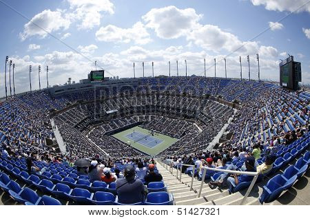 Areal view of  Arthur Ashe Stadium at the Billie Jean King National Tennis Center during USOpen 2013
