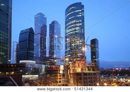 MOSCOW - APRIL 21: Moscow-City under construction at evening on April 21, 2013 in Moscow. Located near Third Ring Road, Moscow-City area is currently under development.