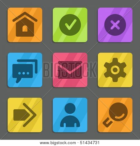 Basic web icons color flat series