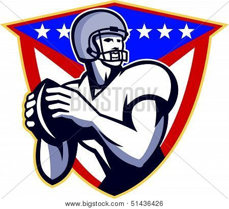 American Football Quartback Throw Ball