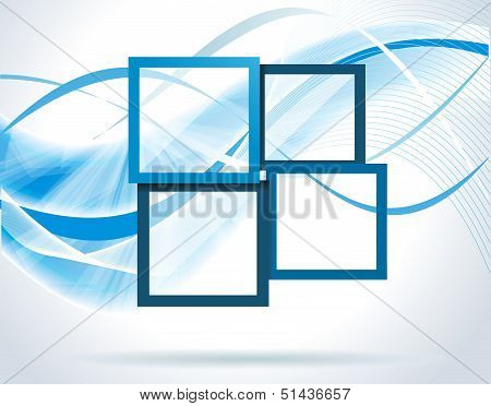 Dark Blue Frames On The Blue And White Background