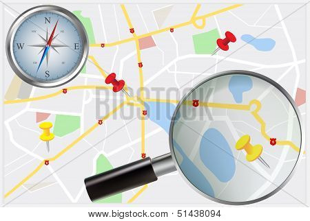 City Map With Compass And Loupe