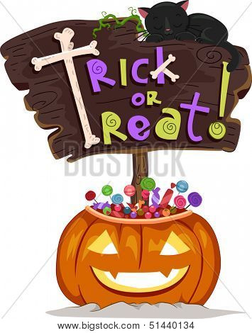 Halloween Illustration of a Signboard Saying Trick or Treat Sitting on a Jack-o'-Lantern Filled with Treats