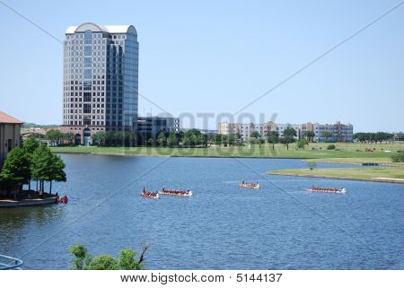 Dragon Boats On Canal