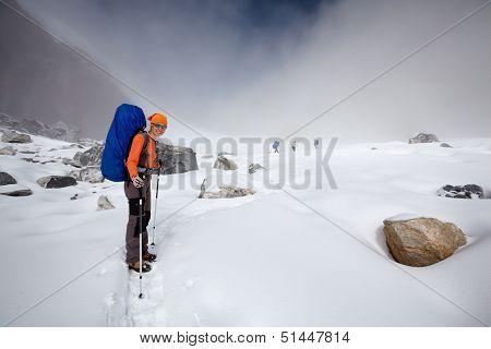 Hiker Crosses Cho La Pass In Khumbu Valley, Nepal