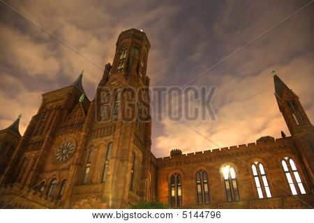 Smithsonian Castle Night Front With Stars Washington Dc