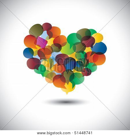 Colorful Chat Icons & Speech Bubbles As Love Symbol- Concept Vector